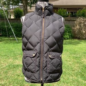 J. Crew Excursion Quilted Black Vest Size Small